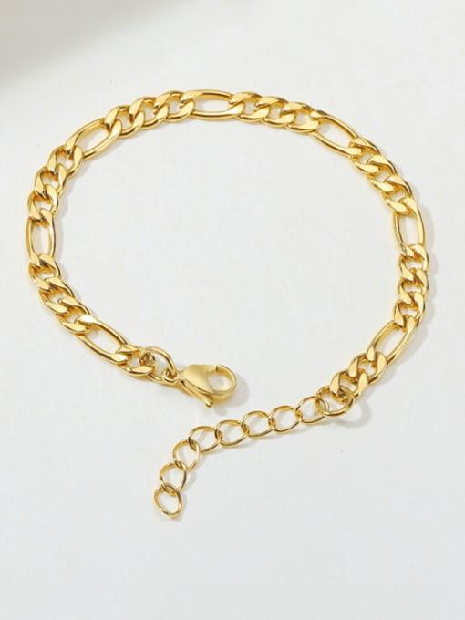 Gold 7mm Titanium Steel Geometric Minimalist Link Bracelet