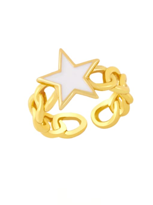 white Brass Enamel Star Vintage Band Ring
