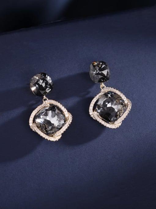 Grey Imitation crystal Brass Cubic Zirconia Geometric Dainty Drop Earring