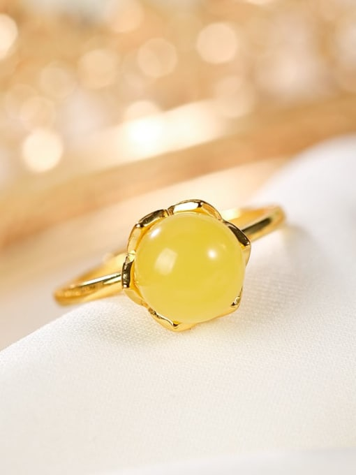 DEER 925 Sterling Silver Citrine Round Minimalist Band Ring 0