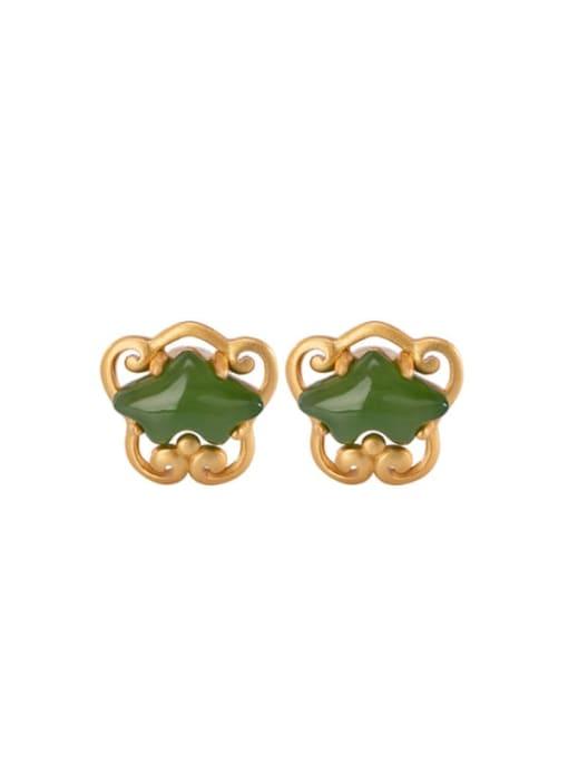 DEER 925 Sterling Silver Jade Irregular Ethnic Stud Earring 0
