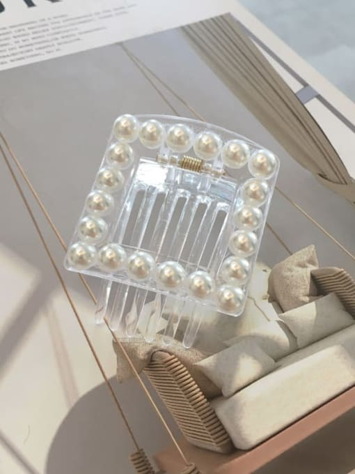 Square transparent Pearl Cellulose Acetate Love heart-shaped square pearl Jaw Hair Claw