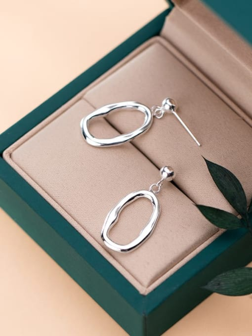 Rosh 925 Sterling Silver Minimalist Hollow Geometric  Drop Earring 2