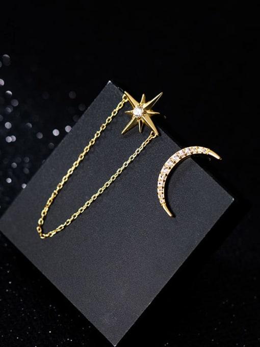 gold 925 Sterling Silver Cubic Zirconia  Minimalist  Asymmetry Moon tassel  Earring