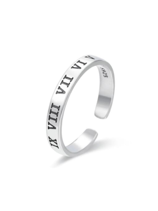 Boomer Cat 925 Sterling Silver Geometric Letter  Minimalist Band Ring