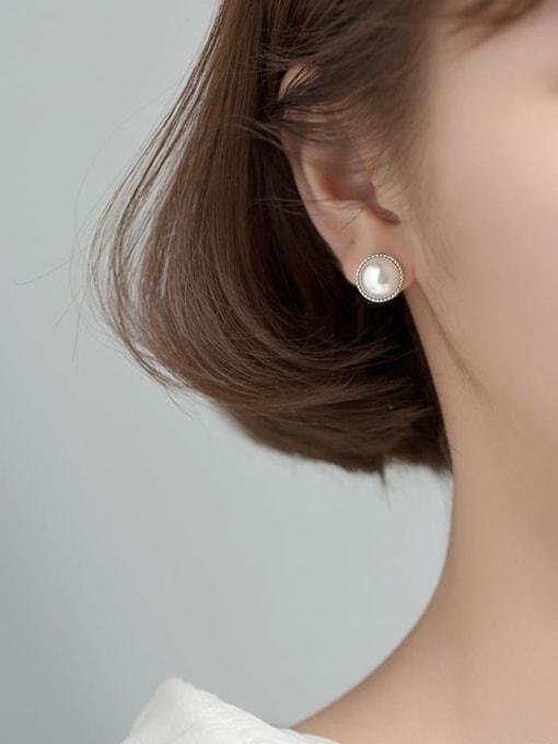 Rosh 925 Sterling Silver Imitation Pearl Round Minimalist Stud Earring 3