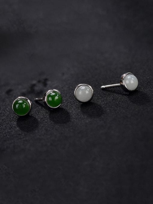 DEER 925 Sterling Silver Jade Round Cute Stud Earring