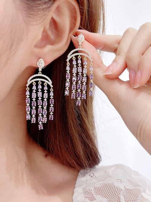 Luxu Brass Cubic Zirconia Tassel Luxury Cluster Earring 1