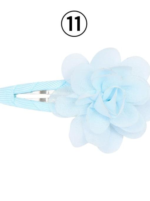 11 light blue Alloy Yarn Minimalist Flower  Multi Color Hair Barrette