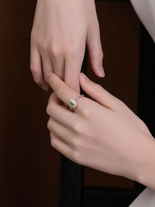 DEER 925 Sterling Silver Emerald Geometric Vintage Band Ring 1