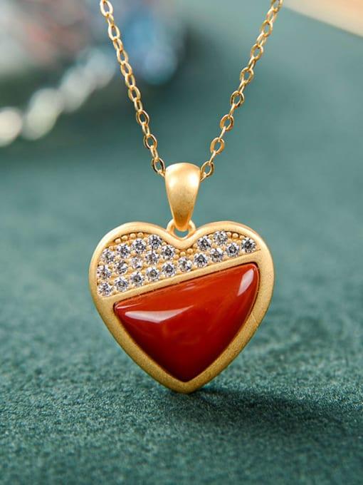 DEER 925 Sterling Silver Carnelian Minimalist Heart Pendant 3