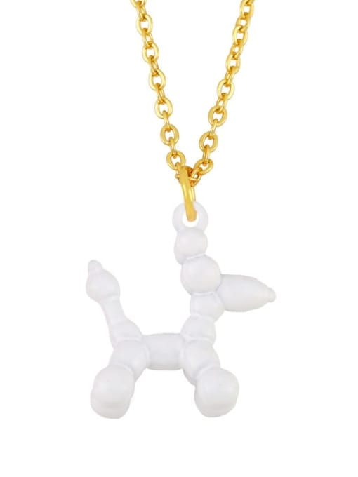 white Brass Enamel Cute Dog Pendant Necklace