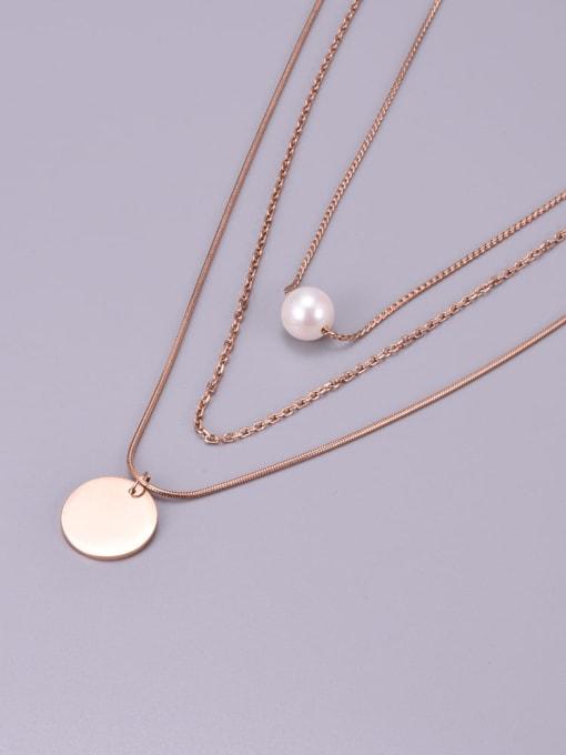 A TEEM Titanium Steel Imitation Pearl Tassel Minimalist Multi Strand Necklace