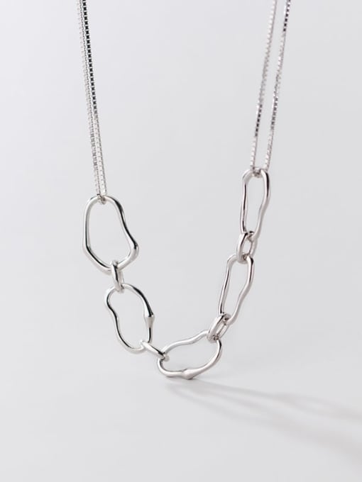 Rosh 925 Sterling Silver  Hollow Geometric Minimalist Necklace 3