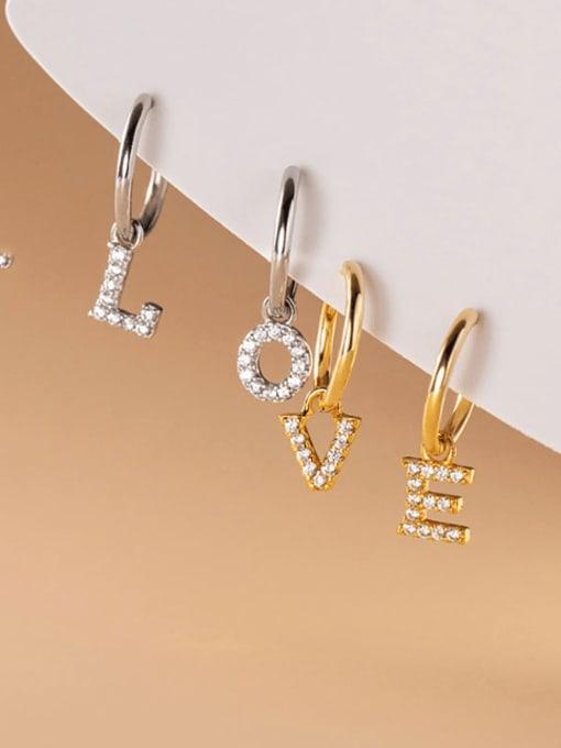 Rosh 925 Sterling Silver Cubic Zirconia Letter Minimalist Huggie Earring