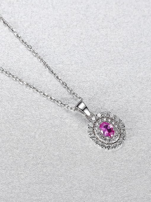 CCUI 925 Sterling Silver Cubic Zirconia Oval Minimalist Necklace 2