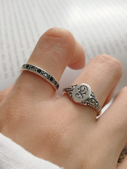 Boomer Cat 925 Sterling Silver Oval Vintage Band Ring 1