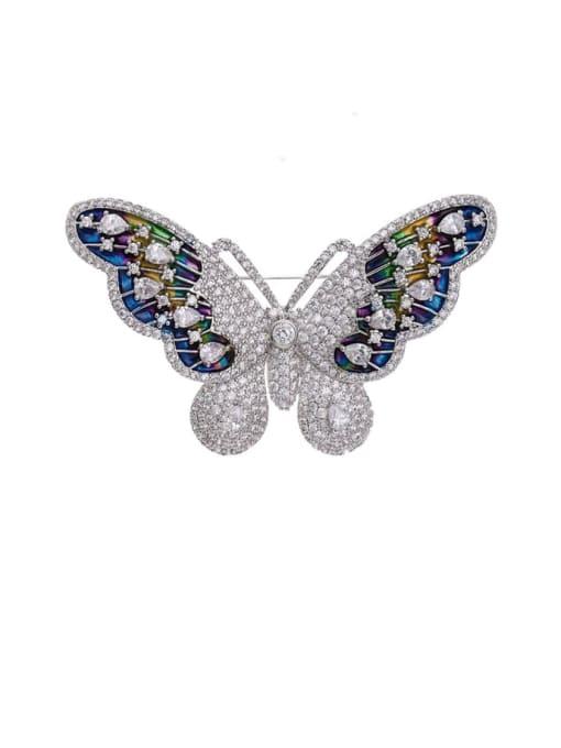 platinum Brass Cubic Zirconia Butterfly Cute Brooch