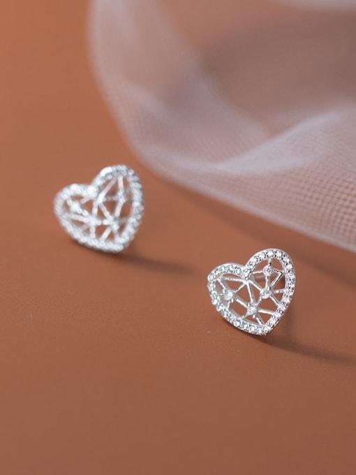 Rosh 925 Sterling Silver Hollow Heart Minimalist Stud Earring 3