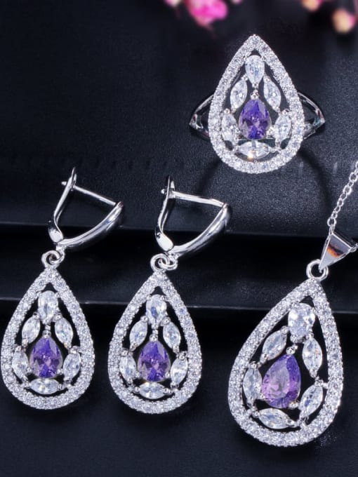 Purple ring size 7 Drop Brass Cubic Zirconia Luxury Water  Earring and Necklace Set