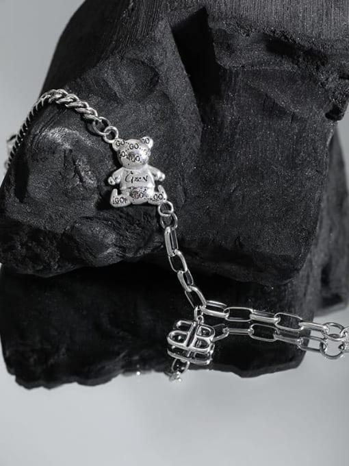 DAKA 925 Sterling Silver Bear Vintage Hollow Chain Link Bracelet 1