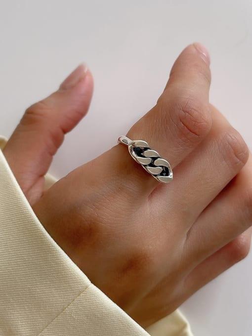 Square Bar Ring j153 3.5g 925 Sterling Silver Irregular Vintage Band Ring