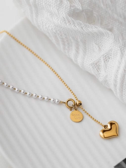 A TEEM Titanium Steel Tassel Minimalist Lariat Necklace
