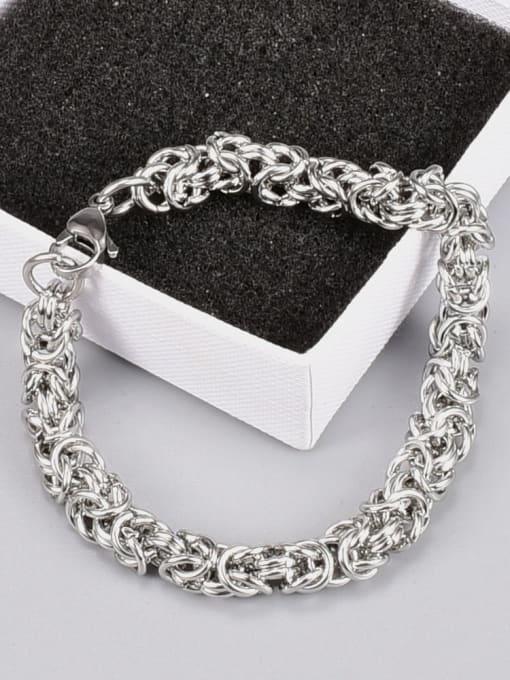 A TEEM Titanium Steel Irregular Hip Hop Link Bracelet 0