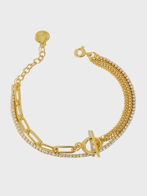 DAKA 925 Sterling Silver Geometric Vintage Strand Bracelet