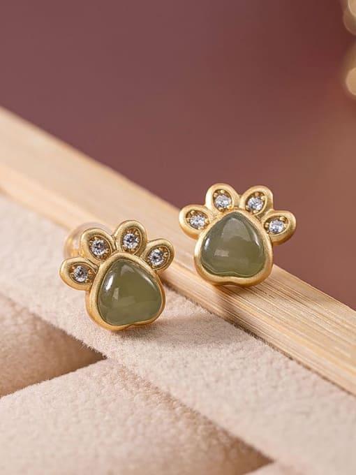 Blue jade (a pair) 925 Sterling Silver Jade Cat paw Cute Stud Earring