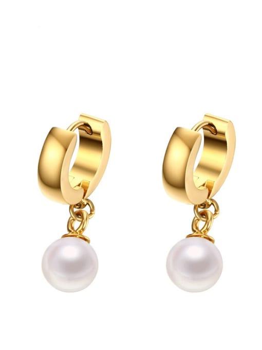 CONG Brass Imitation Pearl Geometric Minimalist Huggie Earring 0
