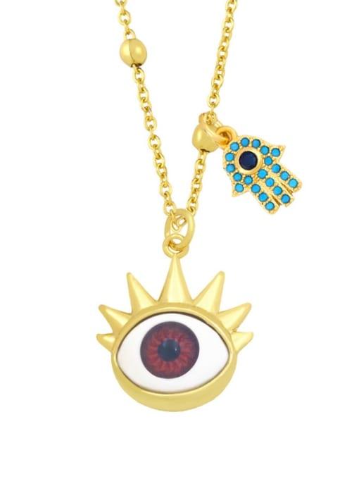 A (red) Brass Enamel Evil Eye Vintage Palm Pendant Necklace