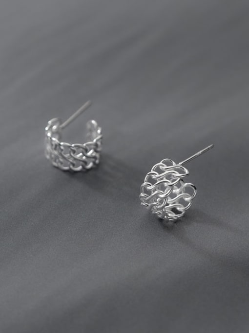 Rosh 925 Sterling Silver  Minimalist Woven hollow C-shaped earrings 2