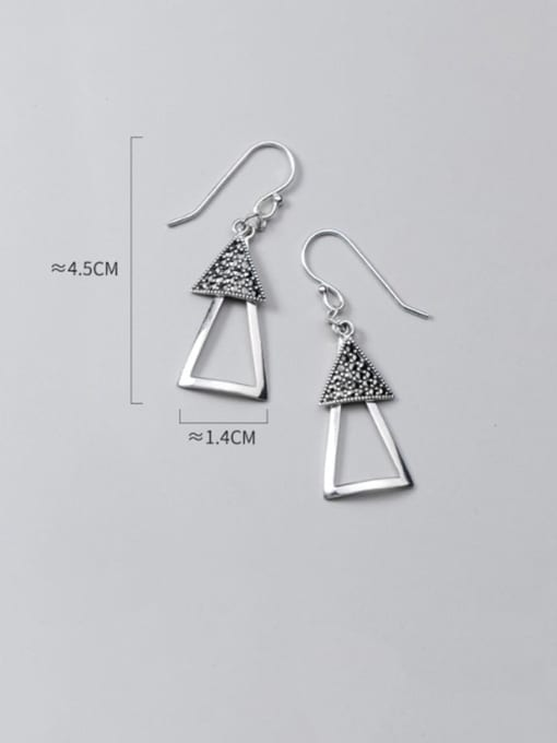 Rosh 925 Sterling Silver Retro Geometric Triangle  Vintage Drop Earring 2