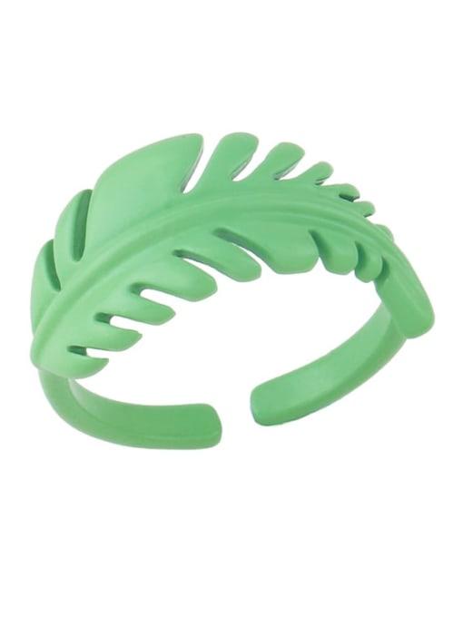 Light green Brass Enamel Tree  Leaf Vintage Band Ring