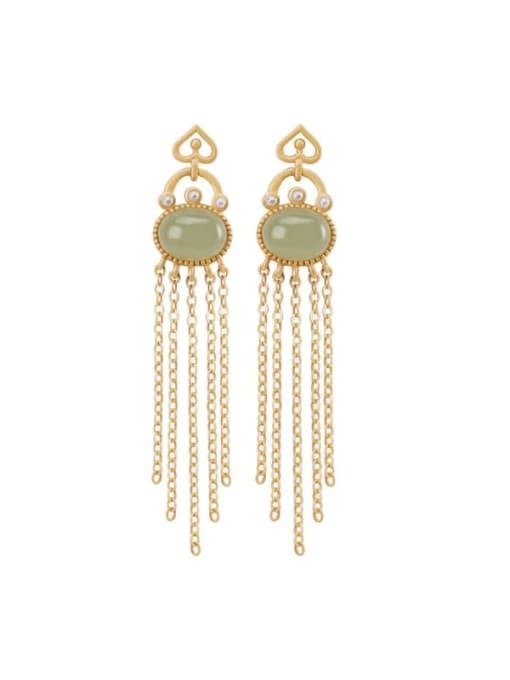 DEER 925 Sterling Silver Jade Tassel Vintage Drop Earring