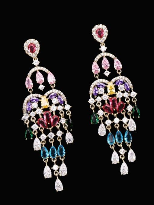 Luxu Brass Cubic Zirconia Tassel Ethnic Cluster Earring