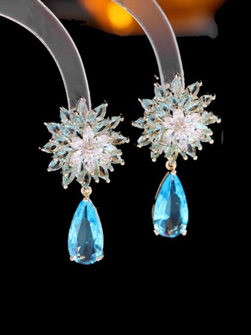 blue Brass Cubic Zirconia Water Drop Trend Drop Earring