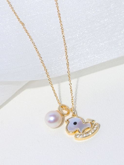RAIN Brass Freshwater Pearl Cloud Minimalist Necklace 2
