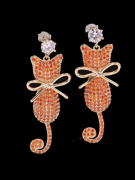 Orange Brass Cubic Zirconia Cat Cute Drop Earring