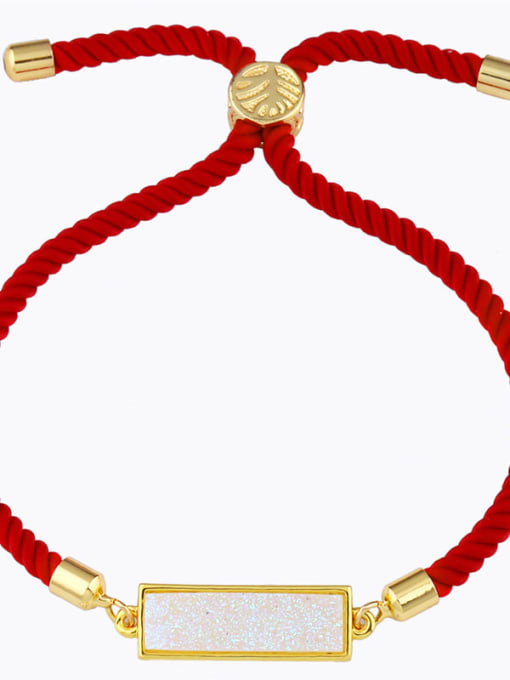 Red rope milky white Red rope Geometric Minimalist Adjustable Bracelet