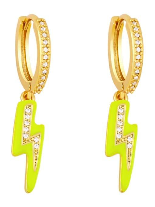 yellow Brass Enamel Irregular Cute Huggie Earring