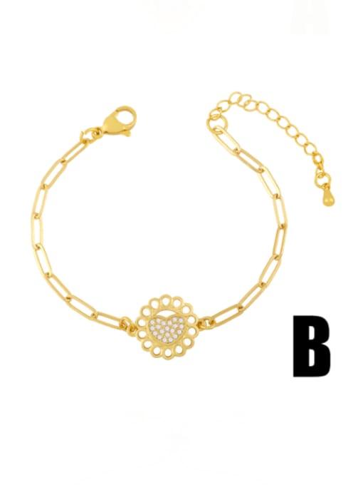 CC Brass Cubic Zirconia Heart Vintage Adjustable Bracelet 2