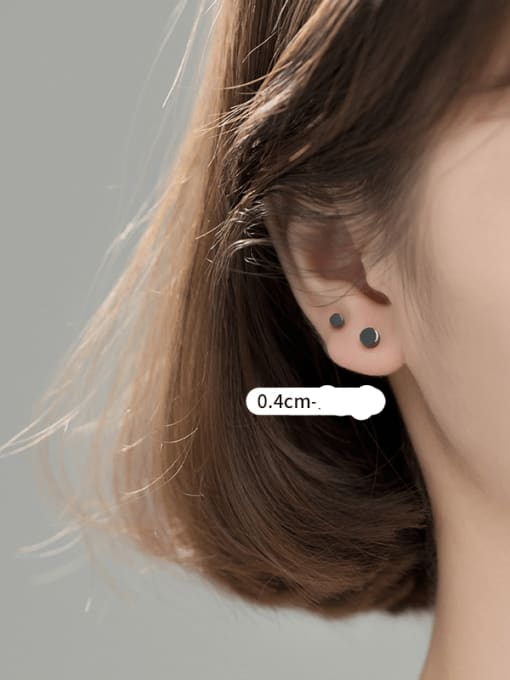 S925 silver PAIR BLACK LARGE 925 Sterling Silver Round Minimalist Stud Earring