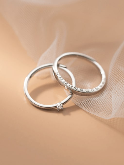 Rosh 925 Sterling Silver Number Minimalist Band Ring 0