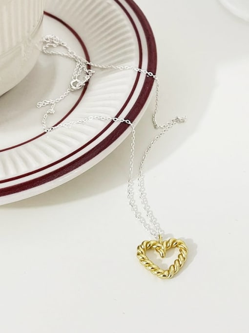 Boomer Cat 925 Sterling Silver Hollow Heart Vintage Necklace