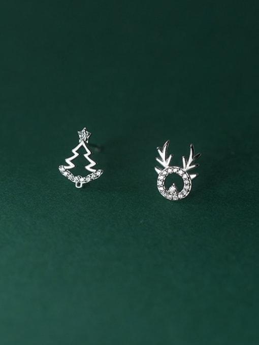 Rosh 925 Sterling Silver Cubic Zirconia  Minimalist  Asymmetric Christmas Tree Fawn  Stud Earring 1