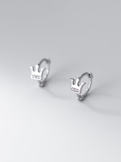 Rosh 925 Sterling Silver Rhinestone Irregular Minimalist Huggie Earring 2