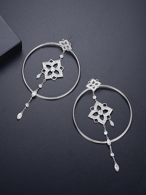 BLING SU Brass Cubic Zirconia Geometric Ethnic Threader Earring