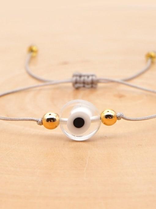 QT B200188E Stainless steel Bead Evil Eye Bohemia Adjustable Bracelet